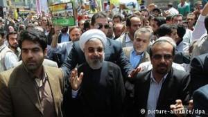 Der Hinrichtungspräsident Hassan Rouhani auf der Al-Quds-Kundgebung in Teheran 25. 07. 2014